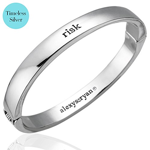 Lettering Detail Sterling Silver Charm (alexys•ryan Silver Bangle Bracelet with Swarovski Crystal - Oval Fashion Bracelets for Women with Magnetic Closure - Metal Bangles for Girls Engraved With Inspirational Quotes - Comes With Jewelry Box)