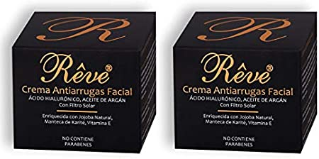 REVE Crema Antiarrugas Facial Argan con Ácido Hialurónico + Molecular Film + Vitamina E + Manteca de Karite + Aloe Vera Sin Parabenes - Día y Noche - Cosmética natural - 55 ml (2 CREMAS)