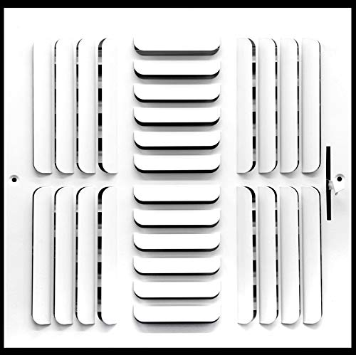 "12""w x 12""h 3-Way Fixed Curved Blade AIR Supply Diffuser - Vent Duct Cover - Grille Register - Sidewall or Ceiling - High Airflow - White"