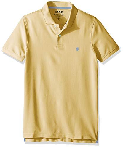 (IZOD Men's Slim Fit Advantage Performance Short Sleeve Solid Polo, Lemon, X-Large)