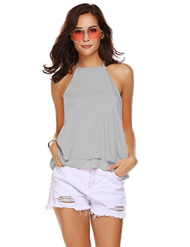 Double Halter - Pinspark Women's Halter Neck Double Layered Strappy A-Line Tunic Tank Top Camisole Gray XXL