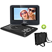 ieGeek Portable DVD Player Kit for Kids - 9.5 LED Eye Protection Swivel Screen Portable DVD Player and Same Size Car Headrest Strap Case for Traval (Black)