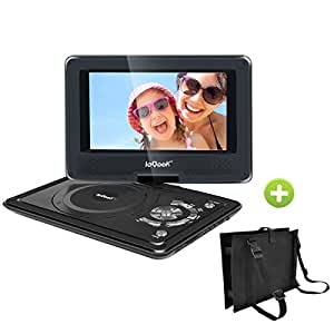 "ieGeek Portable DVD Player Kit for Kids - 9.5"" LED Eye Protection Swivel Screen Portable DVD Player and Same Size Car Headrest Strap Case for Traval (Black)"