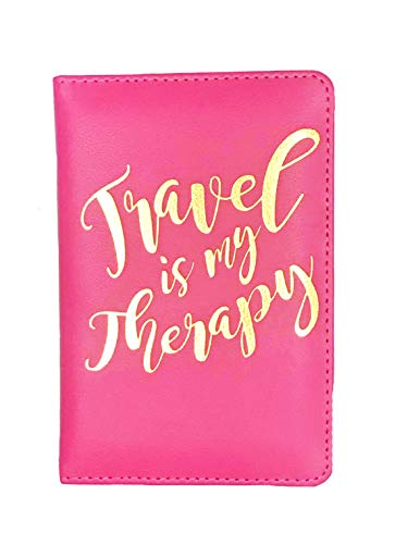 Travel Is My Therapy Passport Cover Holder for Women, Pink with Foil Print, Travel Accessory