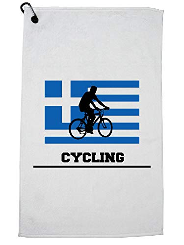 Hollywood Thread Greece Olympic - Cycling - Flag - Silhouette Golf Towel with Carabiner Clip by Hollywood Thread