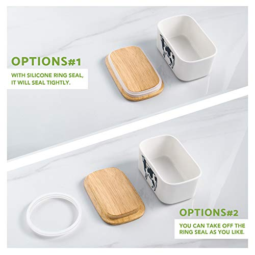 DOWAN Porcelain Butter Dish - Airtight Butter Keeper With Wooden Lid To Keep Butter Fresh - Large Butter Container Holds Up to 2 Sticks of Butter by DOWAN (Image #4)