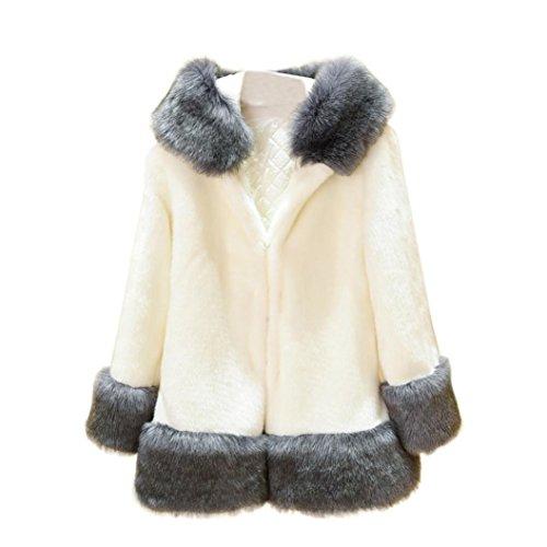 OverDose abrigos de mujer elegantes abrigo con capucha gruesa de piel sintética grande tamaño completo Blanco