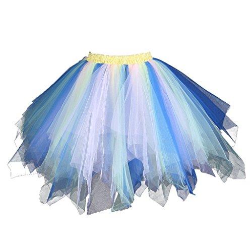 BIFINI Adult Women 80's Tutu Skirt Layered Tulle Petticoat Halloween Tutu Blue/Pink/Green