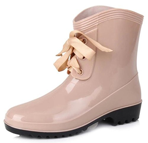 IDIFU Womens Breathable Round Toe Ankle High Rain Boots Short Wellies With Heels Apricot UBQzCU