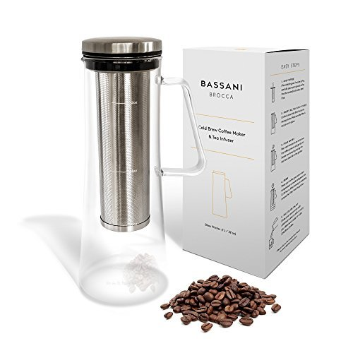 Airtight Cold Brew Iced Coffee Maker and Tea Infuser with Spout | Brocca by Bassani | 1.0L / 32oz Glass Carafe with Stainless Steel Removable and Reusable Filter by Bassani Home