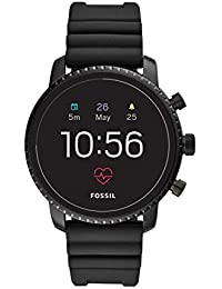 Men's Gen 4 Explorist HR Heart Rate Stainless Steel and Silicone Touchscreen Smartwatch, Color: Black (Model: FTW4018)