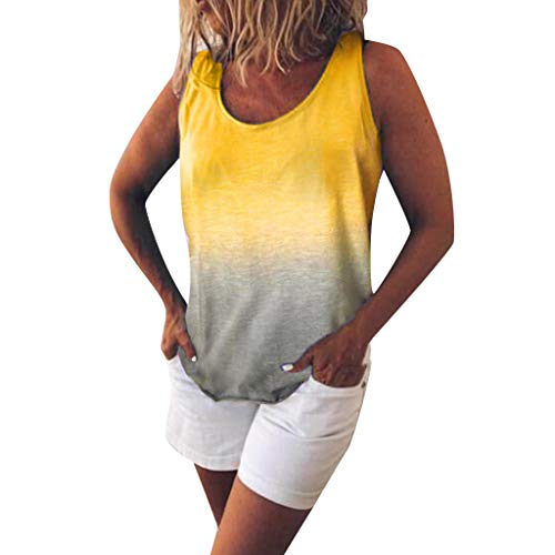 POQOQ Women's Fashion Casual O-Neck Gradient Contrast Color Sleeveless Vest Top(Yellow,4XL)]()