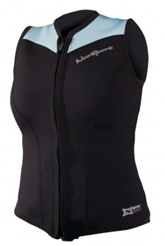 NeoSport Women's 2.5-mm XSPAN Vest (Black with Powder Blue Trim, 8) - Water Sports, Diving & (Neosport Vest)