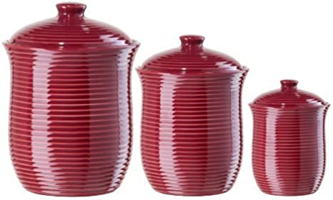 Amazon Com Oggi Cranberry Red Ribbed Ceramic Food Storage Canisters Set Of 3 Kitchen Dining
