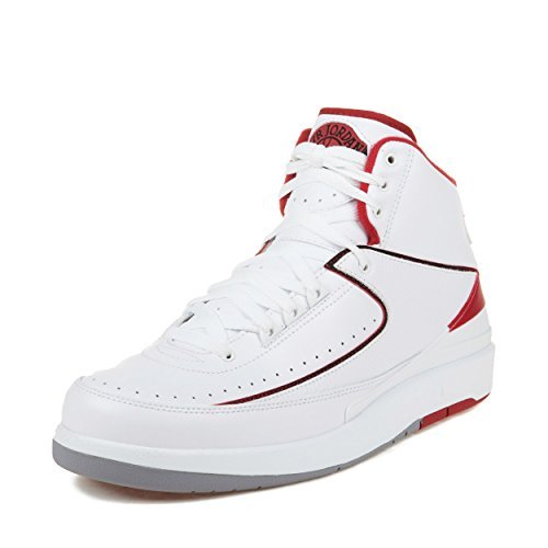 (Jordan Men's Air 2 Retro, White/Black-Varsity RED-Cement Grey, 8.5 M US)