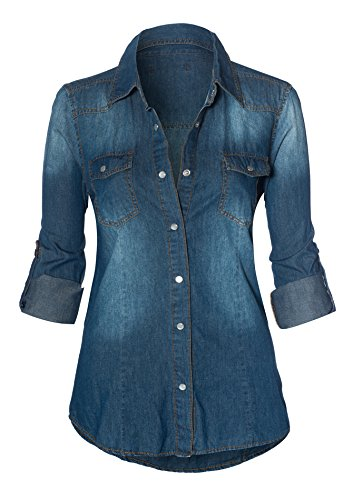 HOT FROM HOLLYWOOD Womens Button Down Roll up Sleeve Classic Denim Shirt Tops