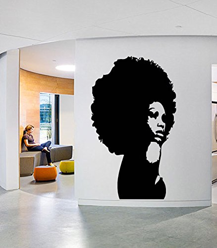 Custom Wall Window Afro Girl Woman Beautiful Decal Stickers Beauty Hair Salon Name Hours Phone number (Beauty Sticker)