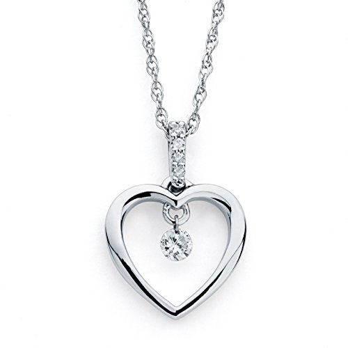 Brilliance in Motion 925 Sterling Silver Dancing Diamond Heart Pendant Necklace, 18