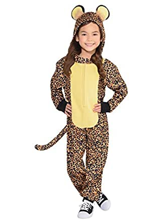 Amscan Cool Costume Wear Leopard Zipster Party (1 Piece), Brown/Black, Small (4-6)