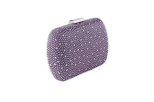 Clutch in raso con mini borchie e tracollina