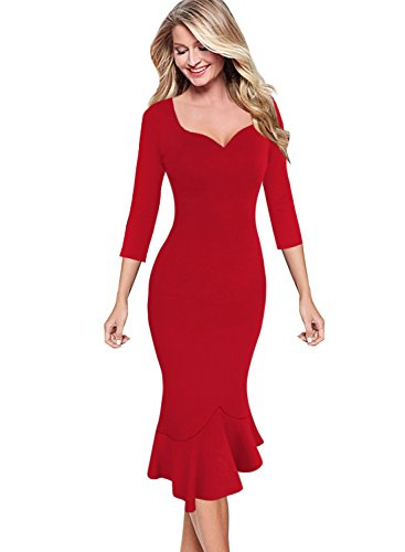 - VfEmage Womens Elegant Vintage Cocktail Party Mermaid Midi Mid-Calf Dress 9341 RED S