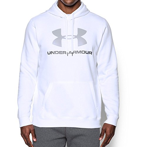 Under Armour Men's Rival Fleece Fitted Graphic Hoodie,White/Overcast Gray, (Under Armour Fleece Hoody)