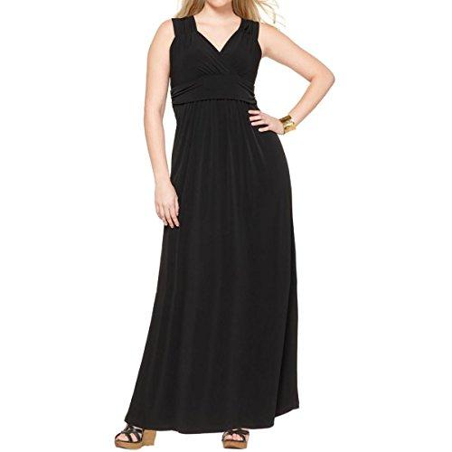 NY Collection Womens Plus Maxi Surplice Cocktail Dress Black 2X