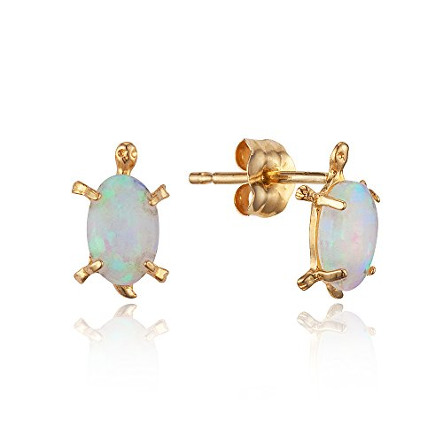 14k Yellow Gold Simulated Opal Turtle Stud Children Baby Girls Stud Earrings - Opal Kids Ring