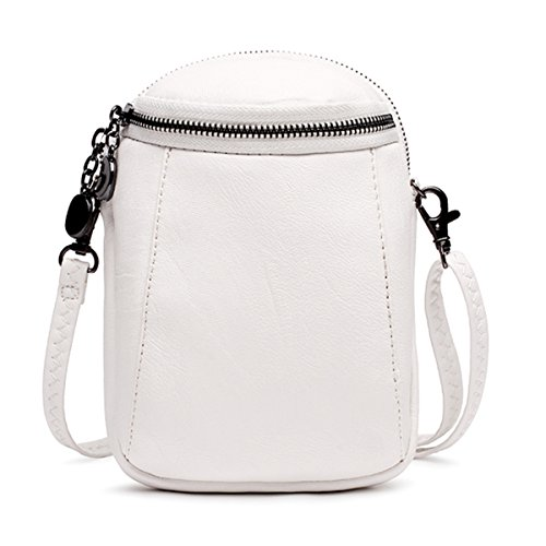 JOSEKO Crossbody Bag for Women, PU Leather Round Little Phone Bag Casual Bucket Bag Vintage Travel Bag for Women Girls Ladies Off White 5.12 inch(L) x 2.36 inch(W) x 7.48 inch(H)]()