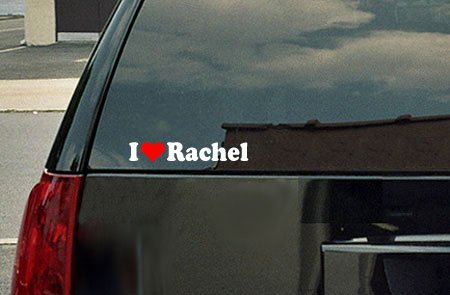 I Love Rachel Vinyl Decal - White with a red heart