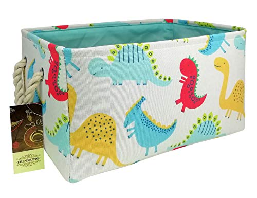 HUNRUNG Rectangle Storage Basket Cute Canvas Organizer Bin for Pet/Kids Toys, Books, Clothes - Perfect for Kid Rooms/Playroom/Shelves (Dinosaur)
