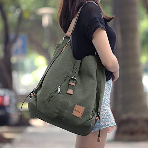 JOSEKO Canvas Tasche, Damen Rucksack Handtasche Vintage Umhängentasche Anti Diebstahl Hobotasche für Alltag Büro Schule Ausflug Einkauf Grün