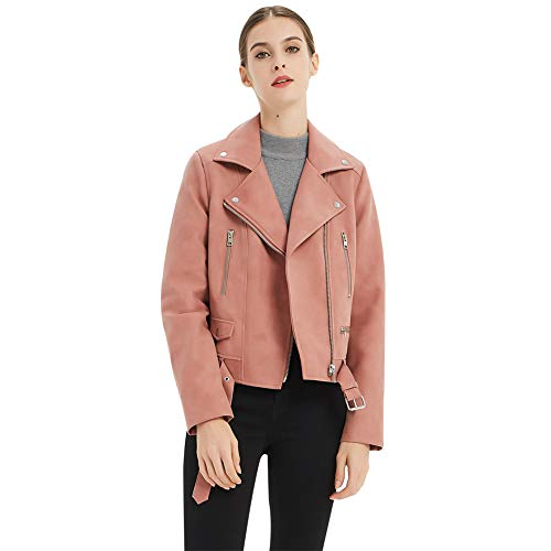 CGTL Ladies PU Jacket, Double Belt Punk Motorcycle Suede Gift Comfortable Warm Spring Trendy Slim Fit Soft Design Fashion Slant Zip Faux Coat for Women, Pink, XX-Large ()