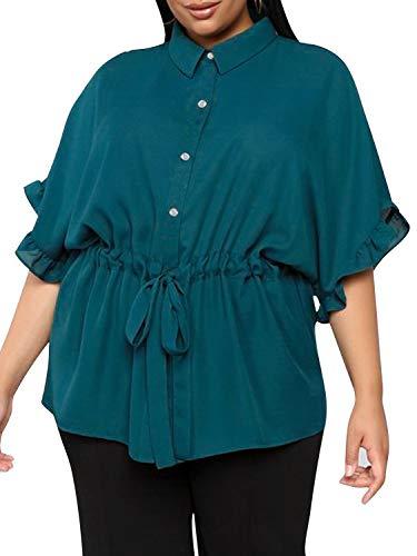 Glamaker Women's Plus Size Short Sleeve Button Down Chiffon Belted Knot Peplum Blouse Tops Shirt ()