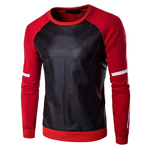 iZHH Mens Blouse Fashion Casual O-Neck Leather Patchwork Tops Blouses T-Shirt(Red,XL/US-L) (Leather Neck S Tee)