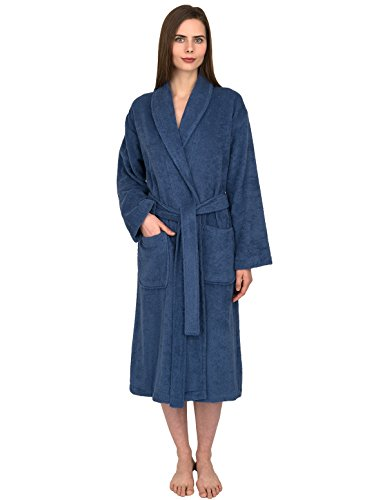 (TowelSelections Women's Robe, Turkish Cotton Terry Shawl Bathrobe Medium/Large Bijou Blue)