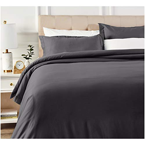 AmazonBasics 400 Thread Count Cotton Duvet Cover Set with Sateen Finish - King, Dark Grey