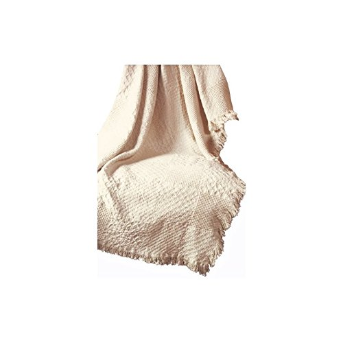 - Manual Textured Blocks Fringed Natural 2-Layer Throw, 46 X 60-Inch