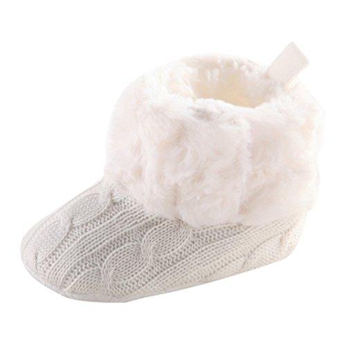 CHENGYANG Babyschuhe Mädchen Neugeborene Weiche Rutschfest Stiefel Warm Schneestiefel Winterstiefel Weiß#13