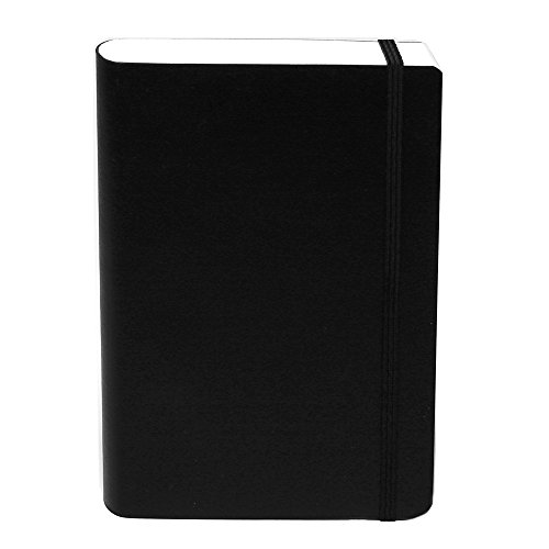 "Miquelrius Flexible Black Leather Cover Notebook, 6"" x 8.2"", Graph, 300 Sheets"