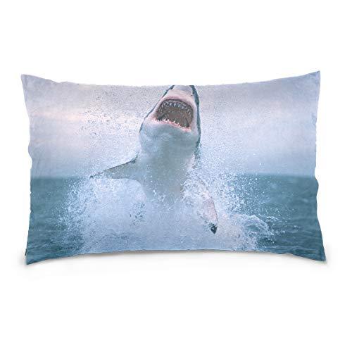 TEVRSTA Shark Jumping Out of Water Cotton Velvet Soft Decorative Square Pillowcase Cushion Cushion Pillowcase, Home Decoration Sofa Sofa Bed Chair 20 x 26 inches (A Shark Jumping Out Of The Water)
