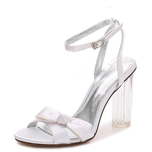 sandalias Party F2615 Blanco Mujeres Novia Zapatos Toe Las Con Crystal L prom 1 De yc Gruesa Plataforma Peep Boda x0UBZTq