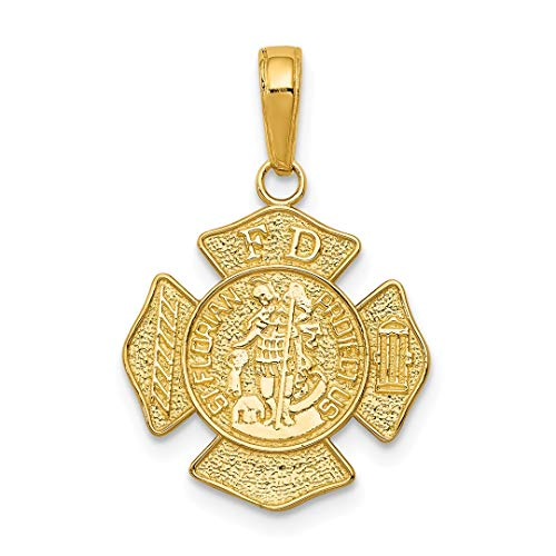- 14k Yellow Gold Small Saint Florian Badge Pendant Charm Necklace Religious Patron Medal St Fine Jewelry For Women Gift Set