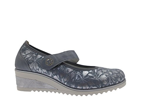 D5506-12 Woman Fantasy Blue Jeans Gray Wedge Soft Memory 37 c4OIpZyKk1