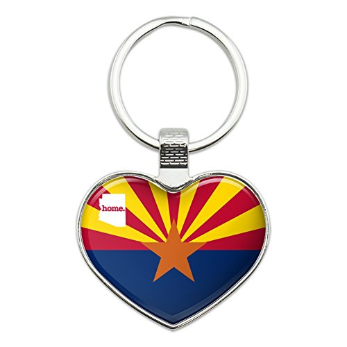 Arizona AZ Home State Flag Officially Licensed Heart Love Metal Keychain Key Chain Ring