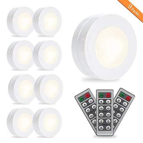 SOLLED LED Puck Lights, Kitchen Under Cabinet Lighting with Remote Control, Battery Powered Dimmable Closet Lights, 4000K Natural Light-9 Pack