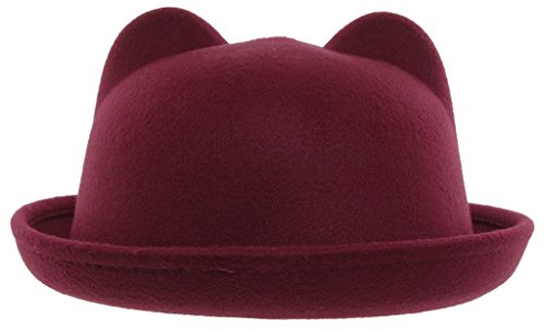 EOZY Kid Girls Wool Felt Cat Ears Hat Fedora Bowler Head Circumference 21