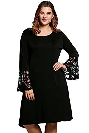 Meaneor Women Fashion Plus Sizes Flare Long Sleeve Solid A Line Short Dress/Black/X Large