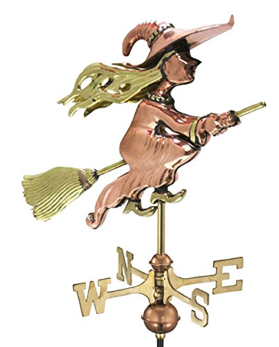 Good Directions Witch Cottage Weathervane with Roof Mount, Pure (Good Directions Cottage Weather Vane)