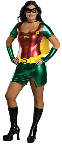 [Batman Secret Wishes Robin Costume Dress, Red/Green, Plus] (Kids Batman And Robin Costumes)
